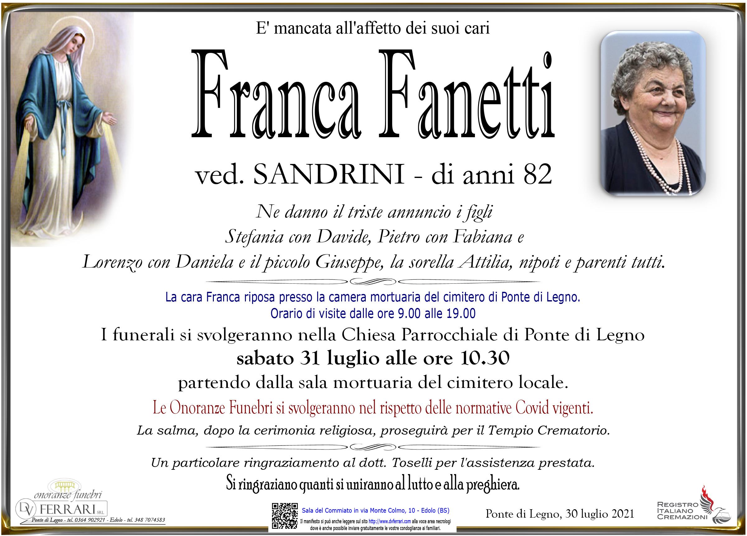 FRANCA FANETTI VED. SANDRINI - PONTE DI LEGNO