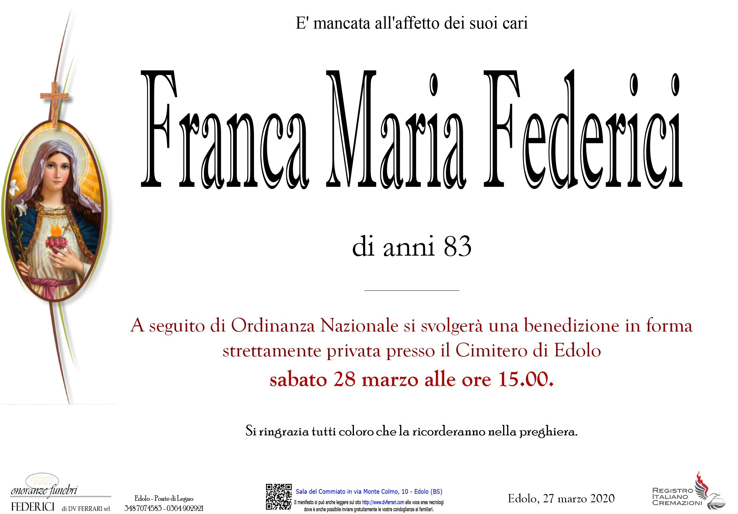 FRANCA MARIA FEDERICI - EDOLO