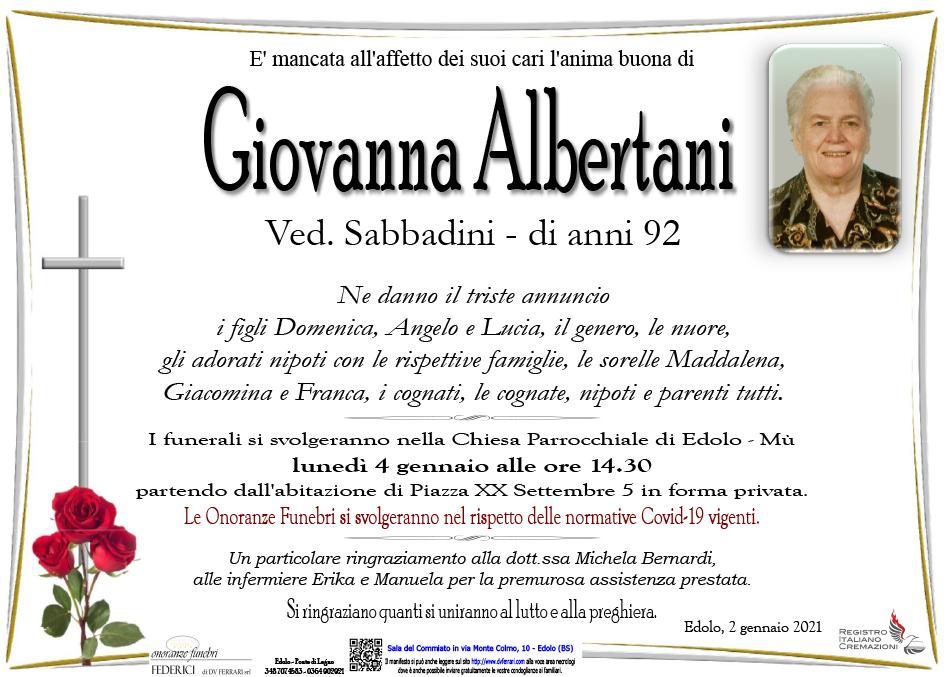 GIOVANNA ALBERTANI ved. SABBADINI - EDOLO