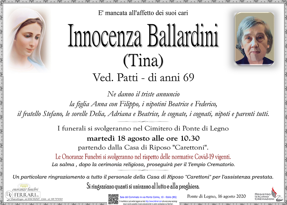 INNOCENZA BALLARDINI (TINA) ved. PATTI - PONTE DI LEGNO