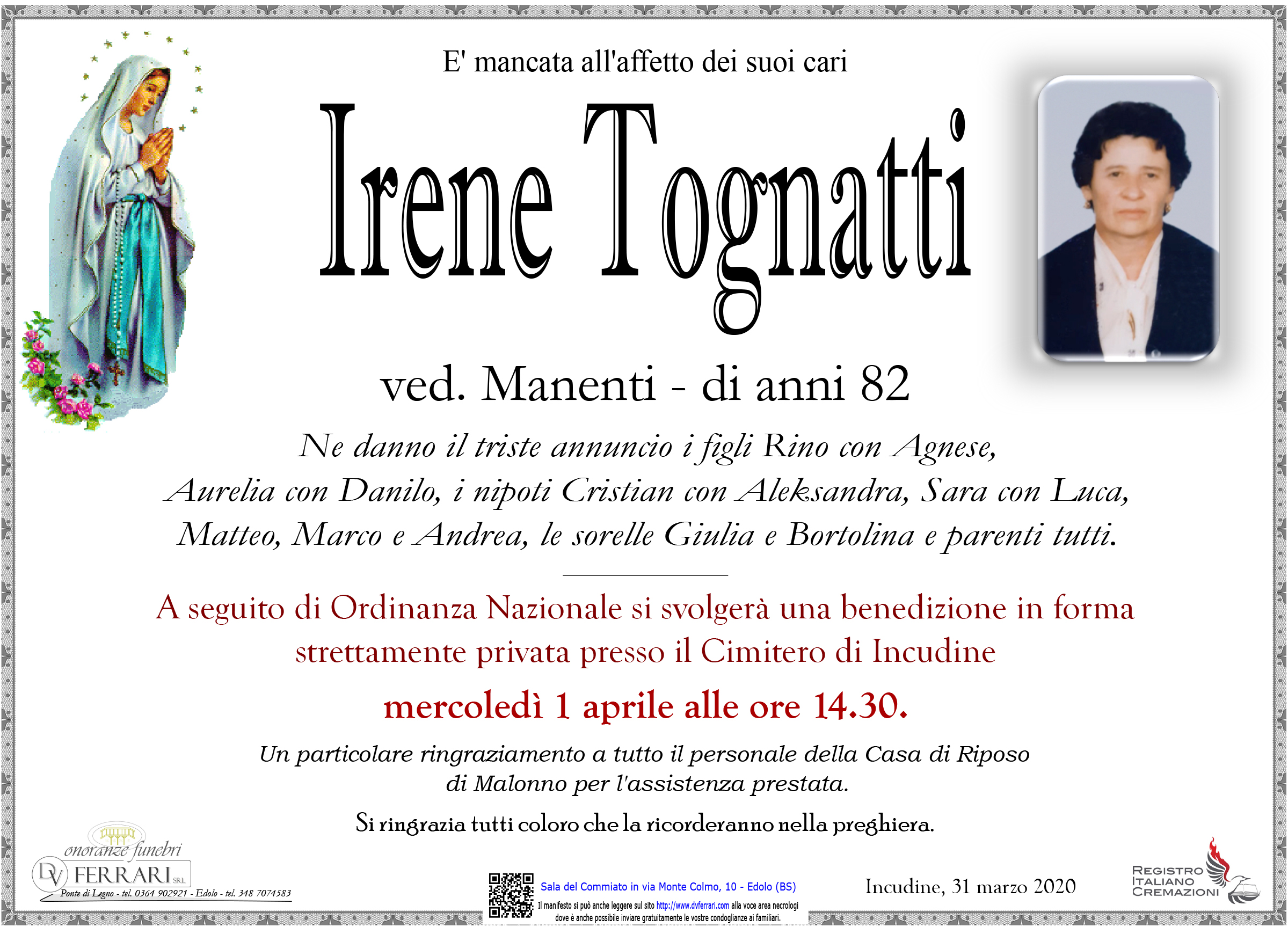 IRENE TOGNATTI VED. MANENTI - INCUDINE