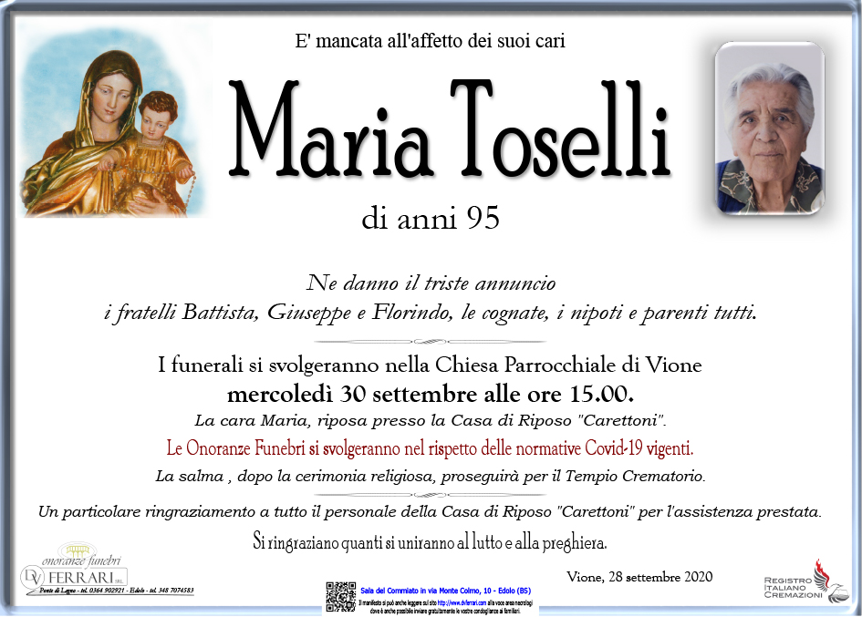 MARIA TOSELLI - VIONE